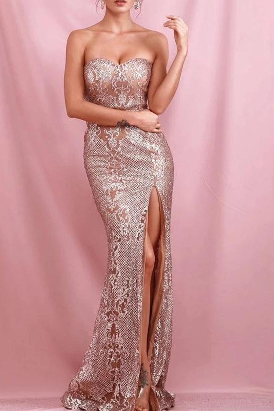 Skyler Rose Gold Sequin Maxi Dress with Slit