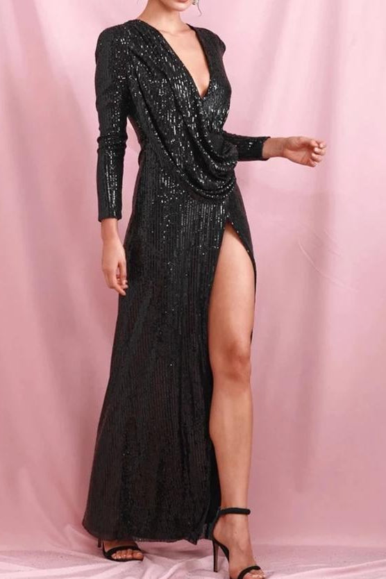 Tinka Black Sequin Long Sleeve Draped Maxi Gown