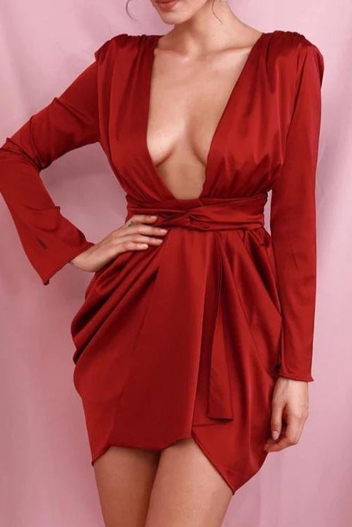 Sonya Wine Satin Draped Deep Plunge Mini Dress