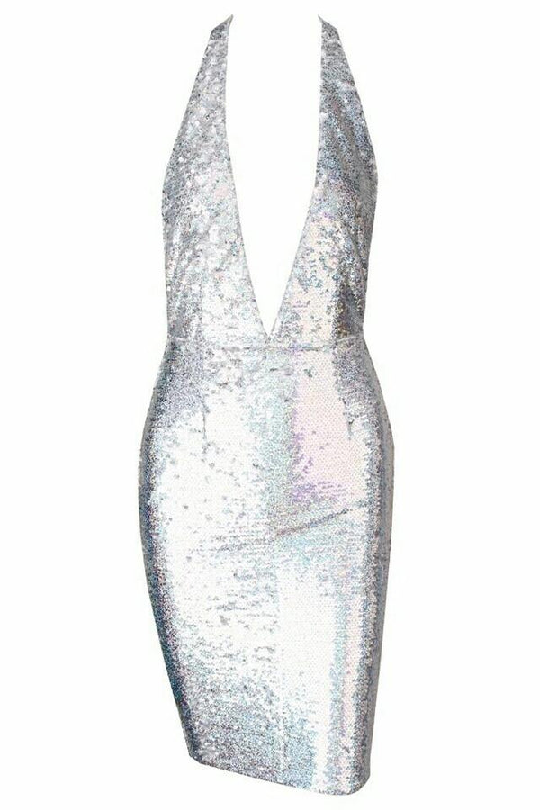 Korrie Silver Sequin Halter Neck Bodycon Dress