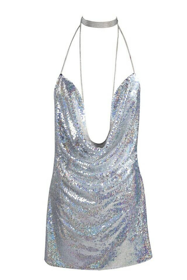Birthday Suit Silver Sequin Cowl Neck Plunge Dress