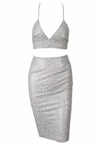Cheryl White Sequin Glitter Bralet Bodycon Skirt Two Piece