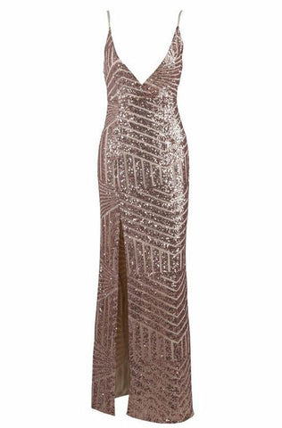 Azra Sequin Rose Gold Plunge Maxi Dress