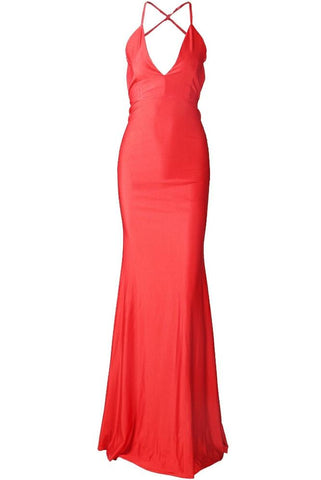 Penny Red V Neck Backless Maxi Dress