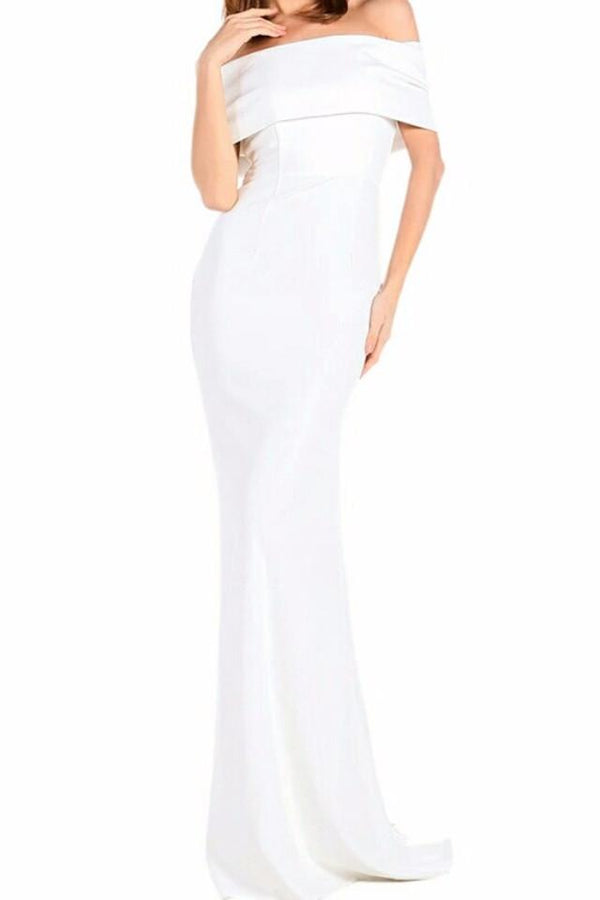 Amalia White Bardot Bow Back Gown