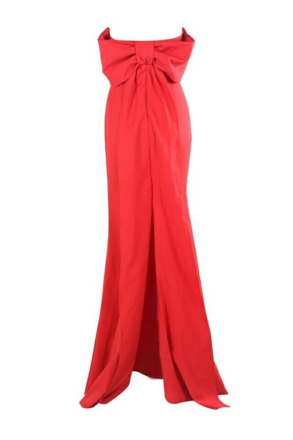 Amalia Red Bardot Bow Back Gown
