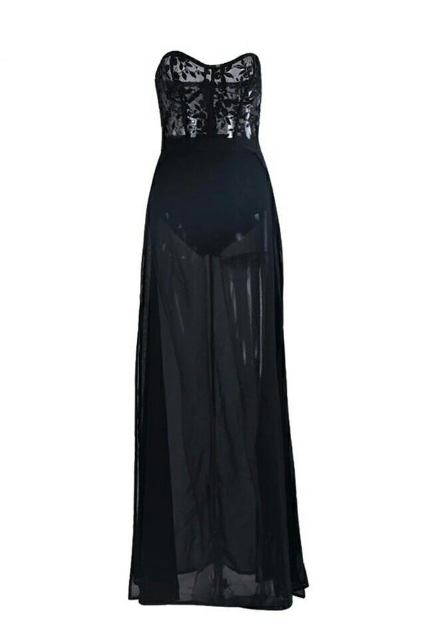 Middleton Lace Bodace Chiffon Bottom Maxi Dress Gown