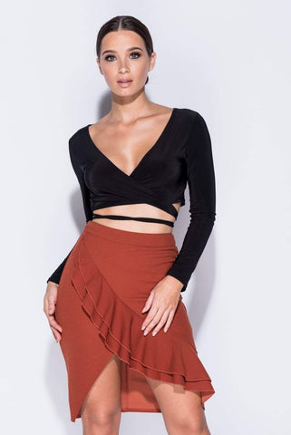 Spencer Rust Ruffle Asymmetric Skirt