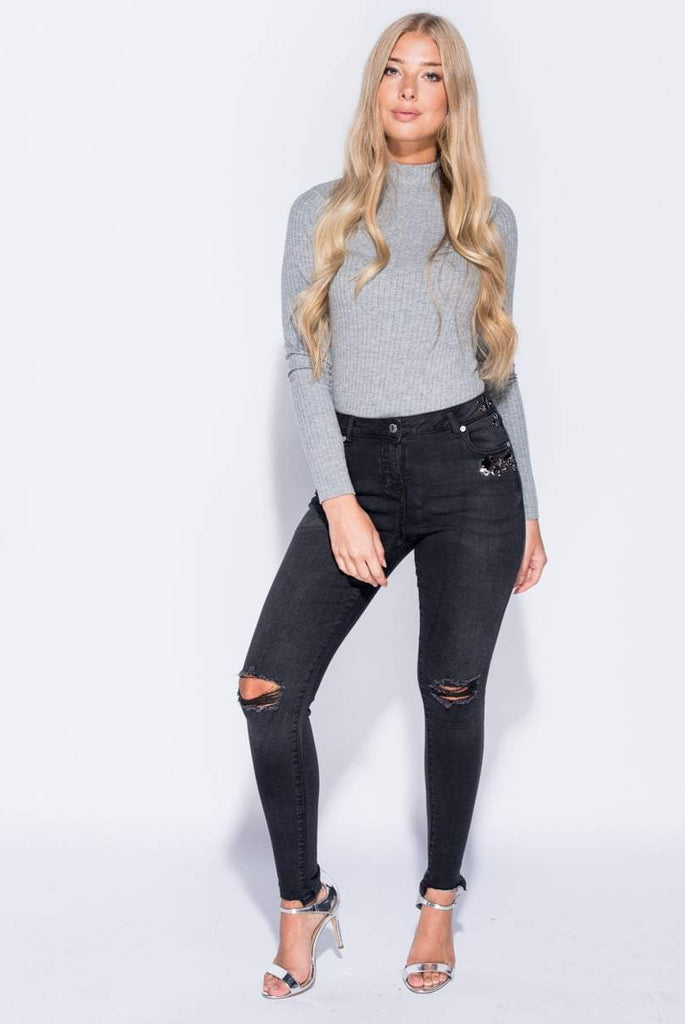 Asia Black Jewel Trim Distressed Skinny Jeans