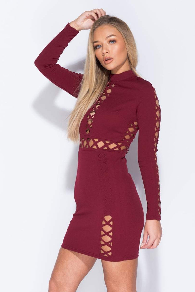 Helena Wine Cut Out Detail Bodycon Dress