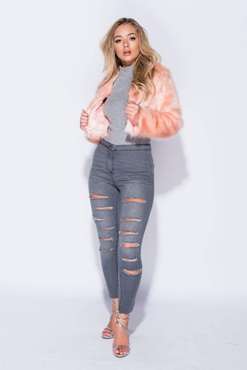 Perry Pink Cropped Fur Faux Jacket