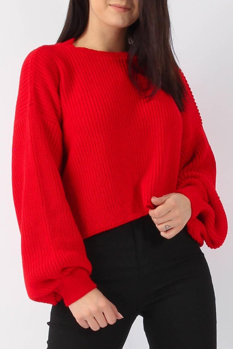 Sansa Balloon Sleeve Knitted Top