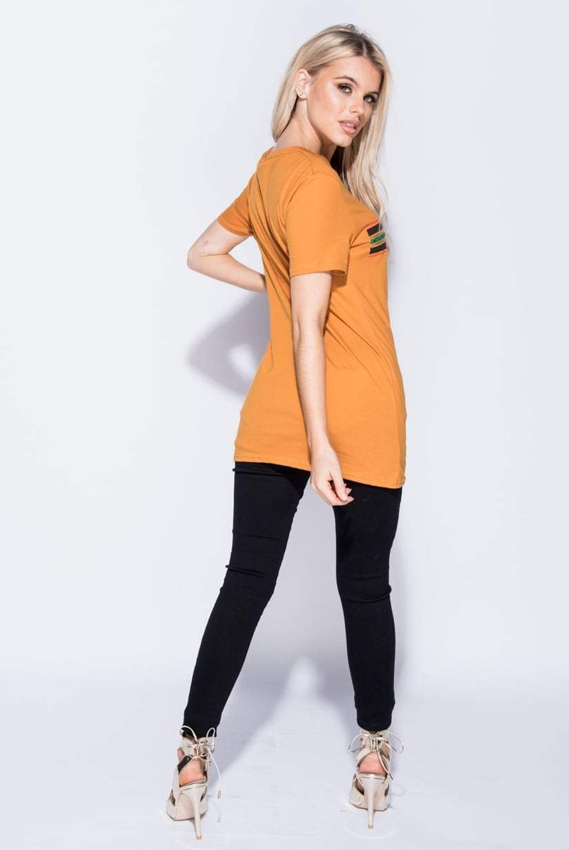 Kila  Orange Slogan Printed T Shirt