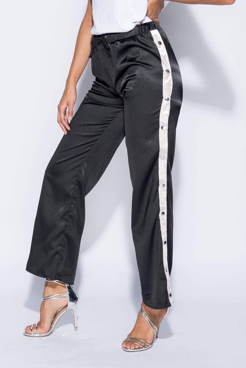 Myka Black Popper Detail Sports Trousers