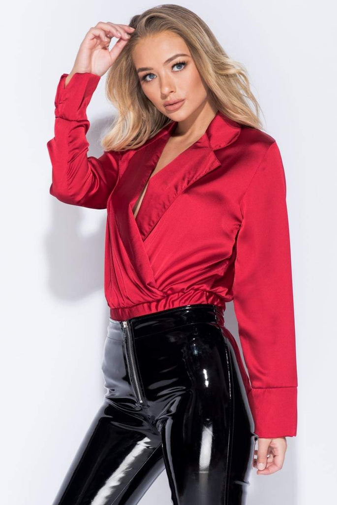 Taylor Red Satin Front Wrap Bodysuit