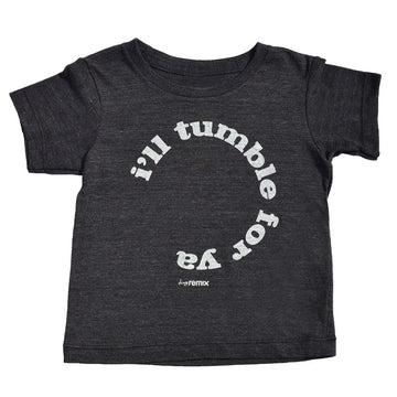 I'll Tumble For Ya Kids Short Sleeve T-Shirt in Black by Tiny Remix at CURRENT LABEL