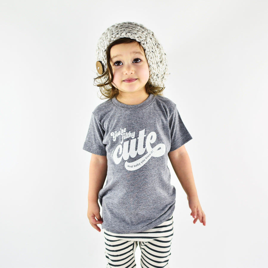 You're Filthy Cute Kids Short Sleeve T-Shirt in Grey by Tiny Remix at CURRENT LABEL