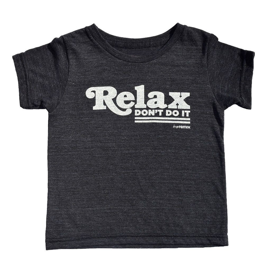 Relax Don't Do It Kids Short Sleeve T-Shirt in Black by Tiny Remix at CURRENT LABEL