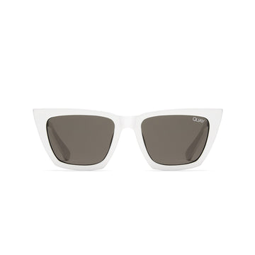 Don't @ Me Sunglasses for Women in White with Smoke by Quay Australia at CURRENT