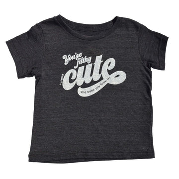 You're Filthy Cute Kids Short Sleeve T-Shirt in Black by Tiny Remix at CURRENT LABEL