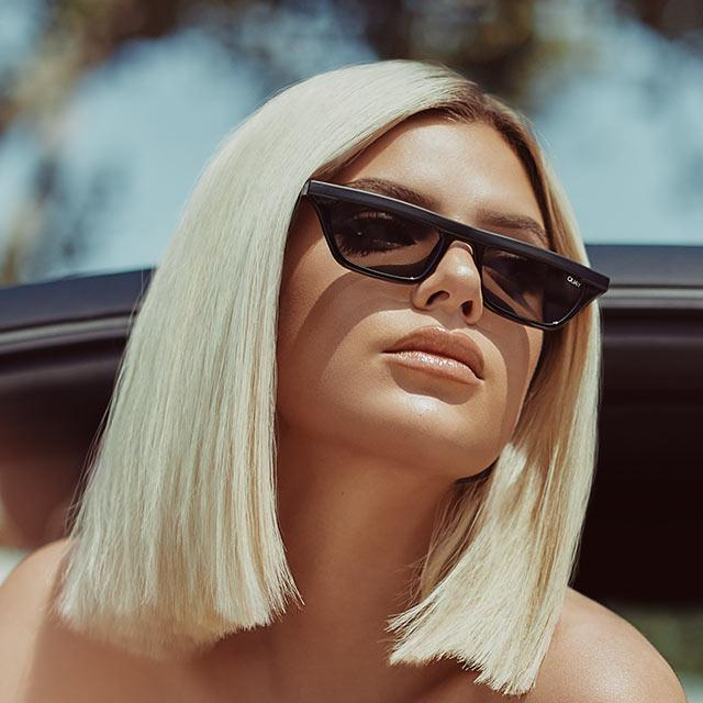 Finesse Sunglasses for Women in Black with Smoke by Quay Australia | CURRENT