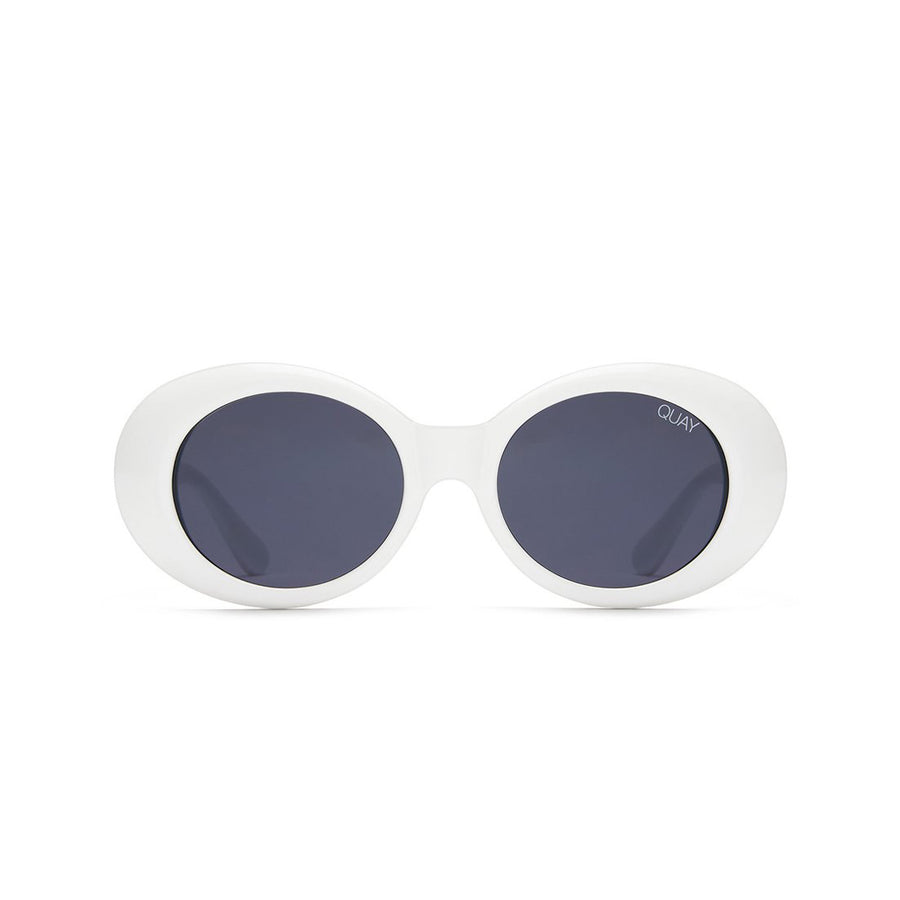 Frivolous Sunglasses for Women in White with Smoke by Quay Australia at CURRENT