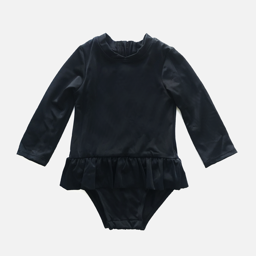 Goldie Baby Girls Long Sleeve One Piece Swimsuit in Black by CURRENT | CURRENT LABEL