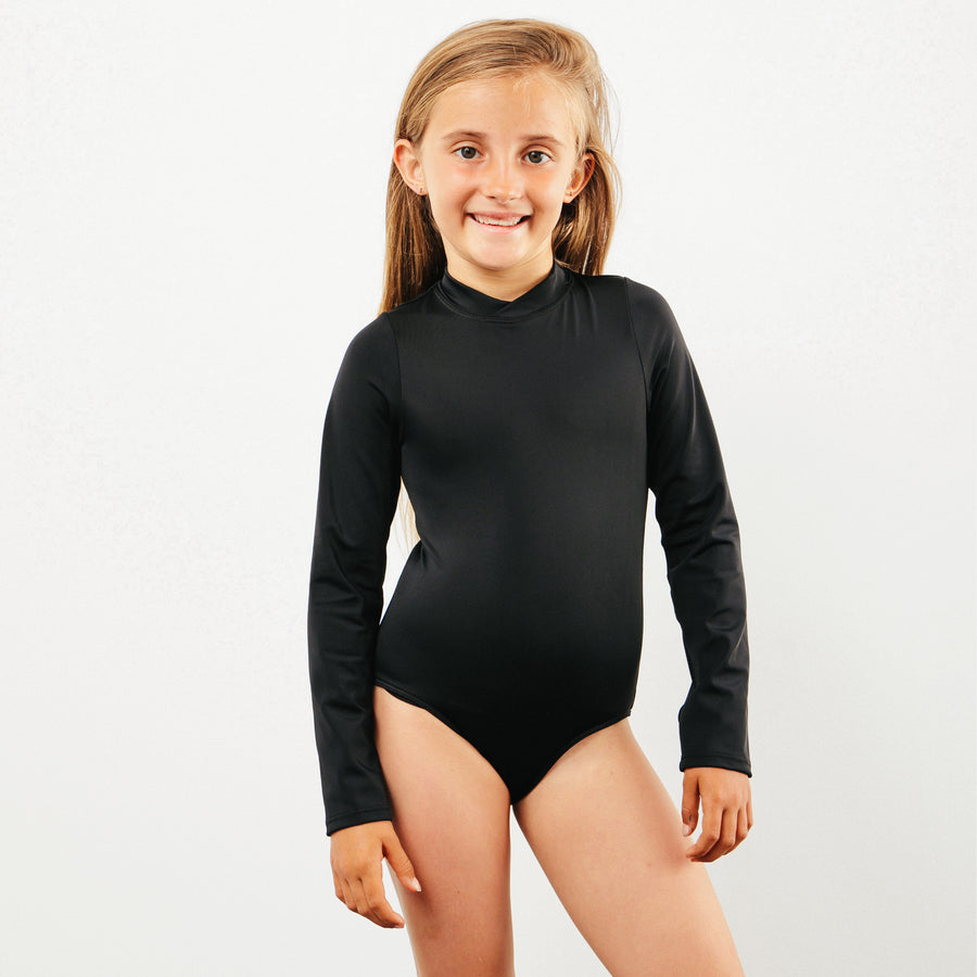 Goldie Girls Long Sleeve One Piece Swimsuit in Black by CURRENT | CURRENT LABEL | CURRENT Swim