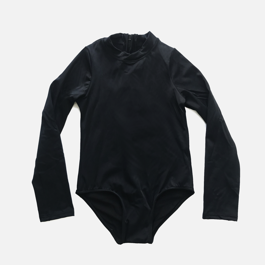 Goldie Girls Long Sleeve One Piece Swimsuit in Black by CURRENT | CURRENT LABEL
