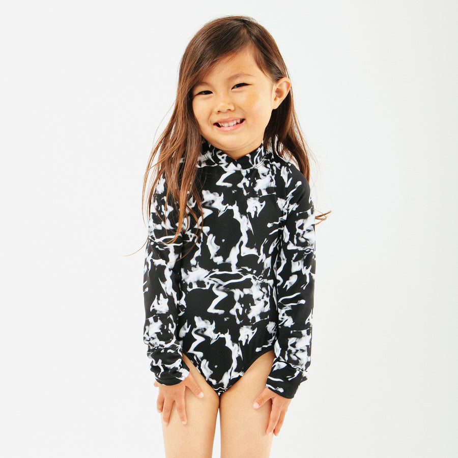 Goldie Girls Long Sleeve One Piece Swimsuit in Sea Fog by CURRENT | CURRENT LABEL | CURRENT Swim