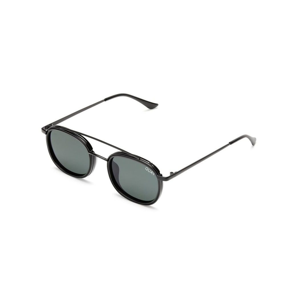 Got It Covered Sunglasses for Men and Women in Black with Green Lens by Quay Australia at CURRENT