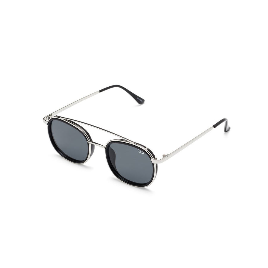 Got It Covered Sunglasses in Black and Silver for Men and Women with Smoke Lens by Quay Australia at CURRENT