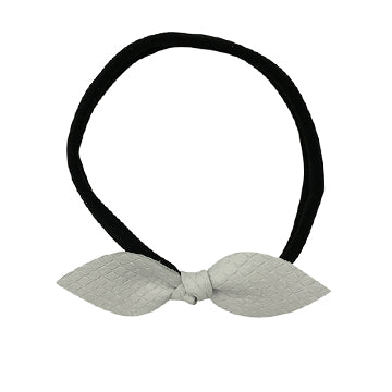 Knot Leather Bow Headband in White and Black by CIALA Co