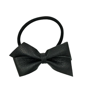 Large Leather Bow Tie Hair Tie in Black and Black by CIALA Co