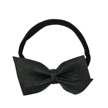 Large Leather Bow Tie Headband in Black and Black by CIALA Co