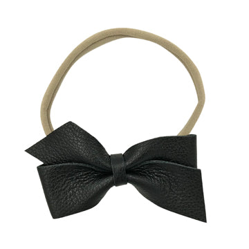 Large Leather Bow Tie Headband in Black and Nude by CIALA Co