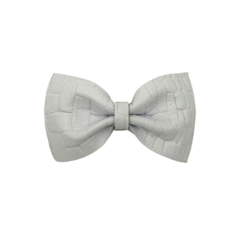 Leather Bow Tie Hair Clip in White by CIALA Co