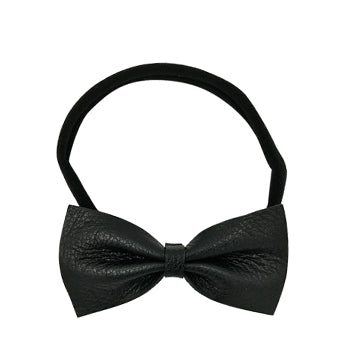 Leather Bow Tie Headband in Black and Black by CIALA Co
