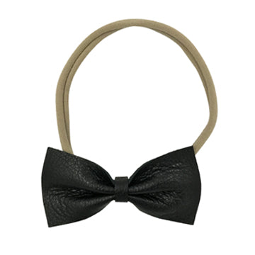 Leather Bow Tie Headband in Black and Nude by CIALA Co