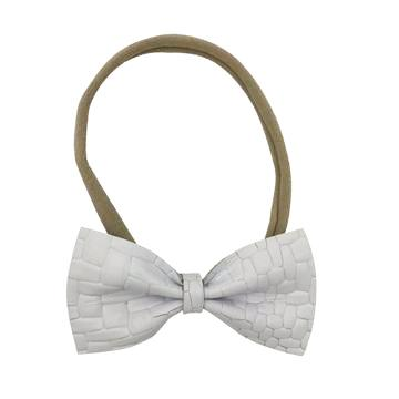 Leather Bow Tie Headband in White and Nude by CIALA Co