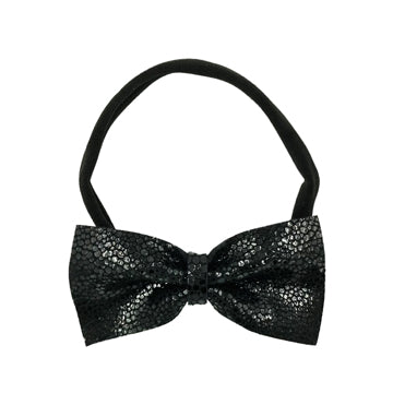 Limited Edition Leather Bow Tie Headband in Black and Black by CIALA Co