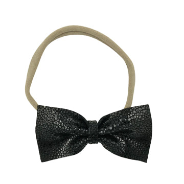 Limited Edition Leather Bow Tie Headband in Black and Nude by CIALA Co