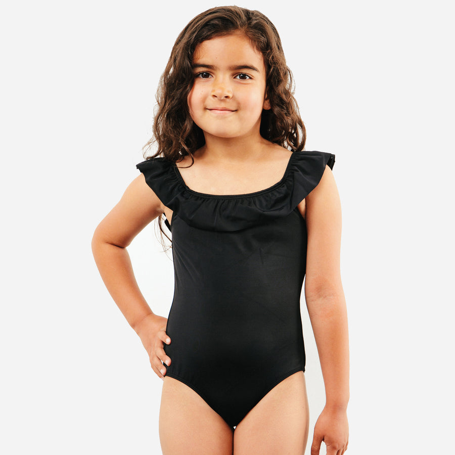 Luna Girls Ruffle Long One Piece Swimsuit in Black by CURRENT | CURRENT LABEL | CURRENT Swim