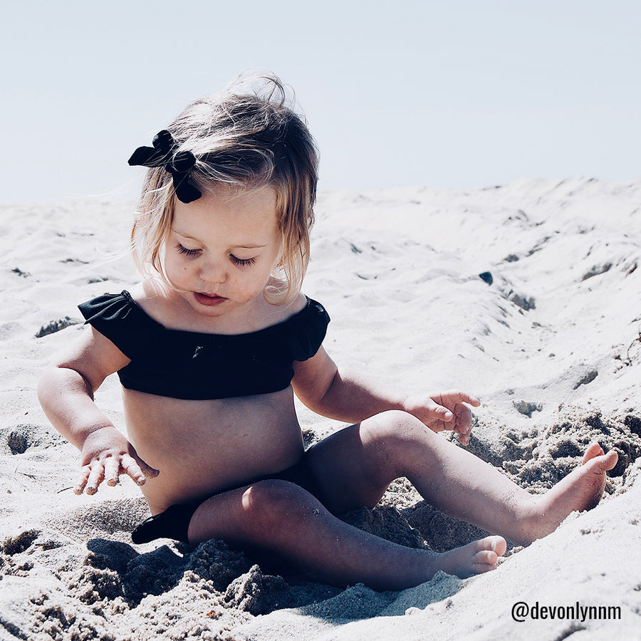 Luna Baby Girls Ruffle Bikini Swimsuit in Black by CURRENT swimwear - @devonlynnm