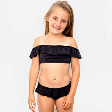 Luna Ruffle Girls Bikini Swimsuit in Black by CURRENT