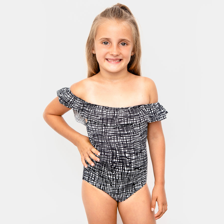 Luna Ruffle Girls One Piece Swimsuit in Tangled by CURRENT