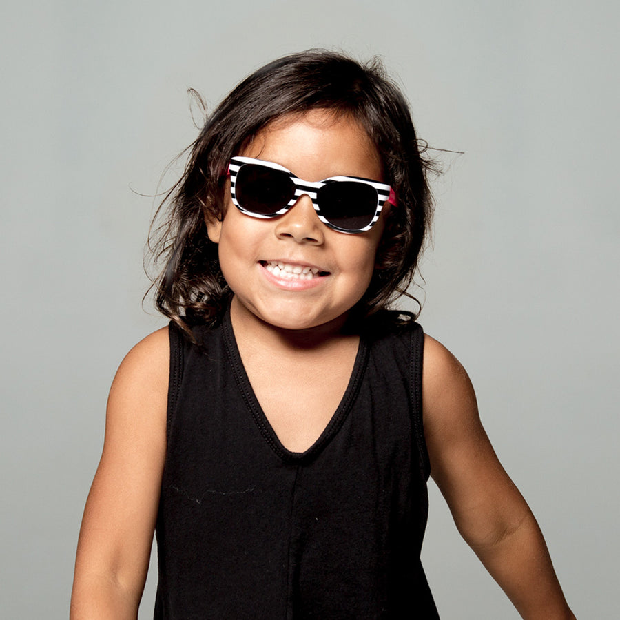 Maggie Toddler Sunglasses in Black and White Stripe by Teeny Tiny Optics at CURRENT