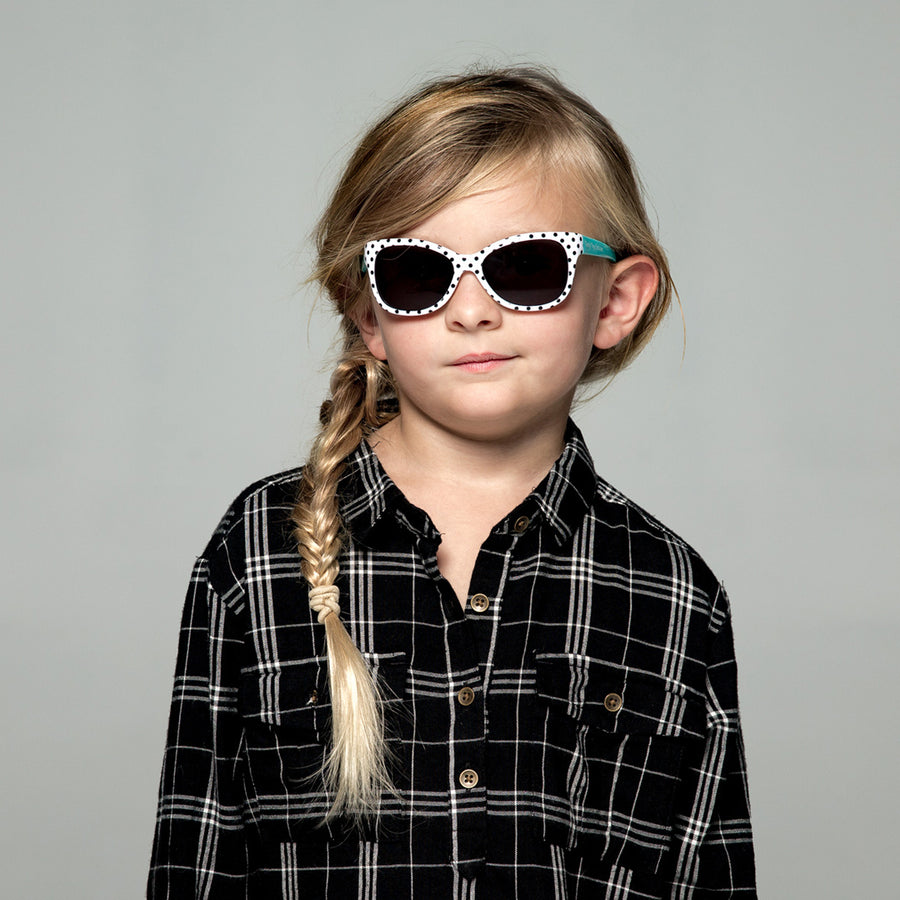 Maggie Toddler Sunglasses in Black and White Polka Dot by Teeny Tiny Optics at CURRENT