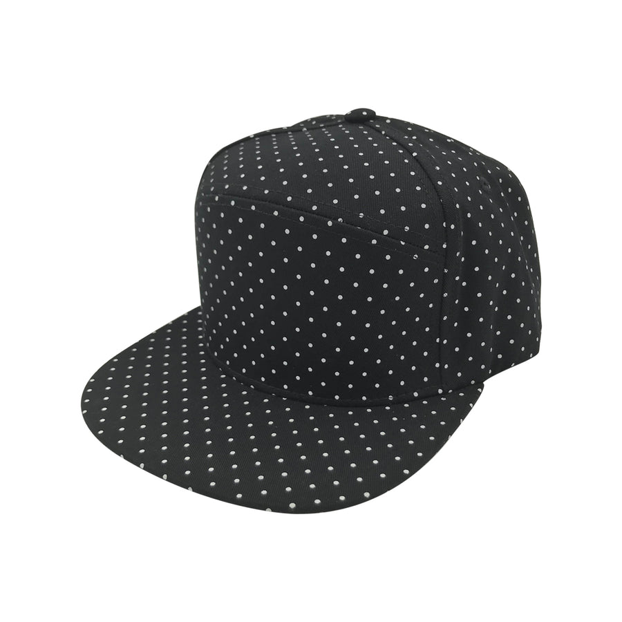 Porto Strapback Hat in Black Polka Dots by CURRENT