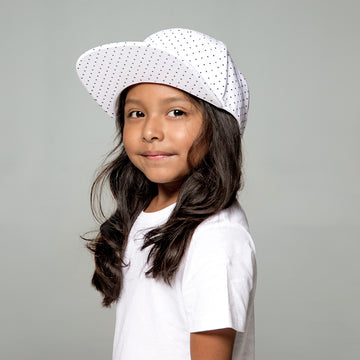 Porto Strapback Hat in White Polka Dots by CURRENT